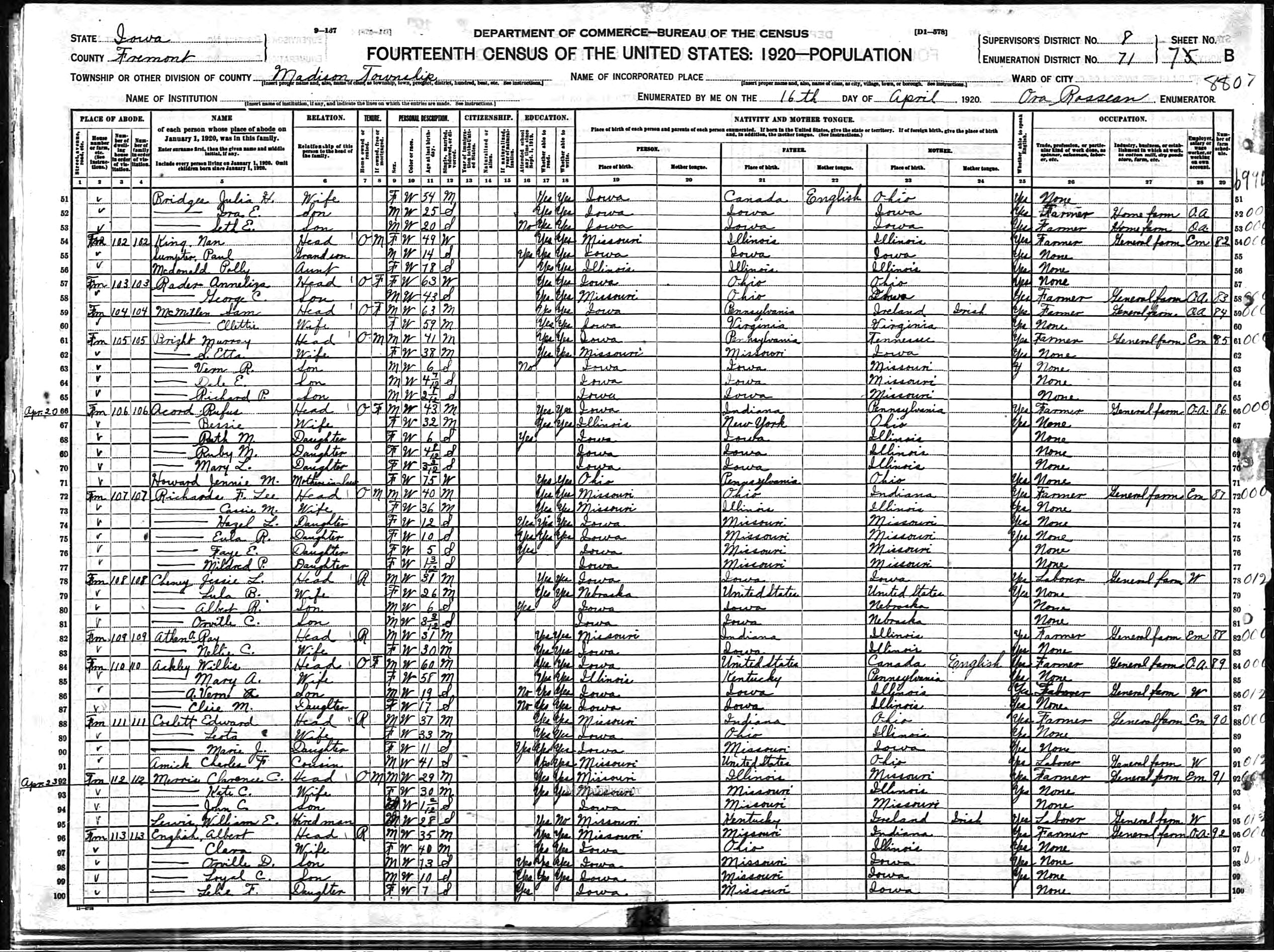 Census Documents - Ackley - 1920, 1925 - Patrick M. Kelly